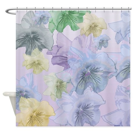 Floating Pastel Pansies Shower Curtain