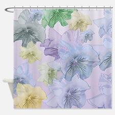Floating Pastel Pansies Shower Curtain