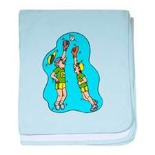 Two players jumping for the ball baby blanket