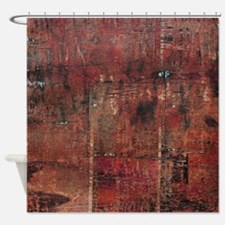 Red rustic wood square textures Shower Curtain