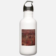 Red rustic wood square textures Water Bottle