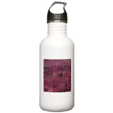 Pink rustic wood square textures Water Bottle