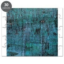 Blue rustic wood square textures Puzzle
