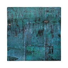 Blue rustic wood square textures Queen Duvet