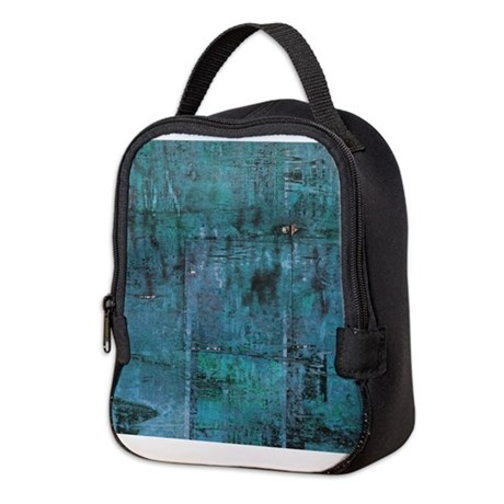 Blue rustic wood square textures Neoprene Lunch Ba