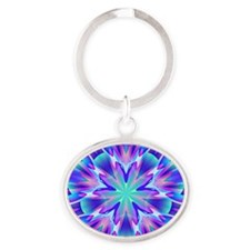 Psychedelic Blue and Pink Star Oval Keychain