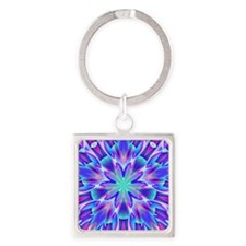 Psychedelic Blue and Pink Star Square Keychain