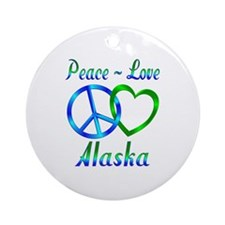 Peace Love Alaska Ornament (Round)
