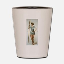 Vintage woman rower Shot Glass