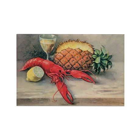 Vintage Still Life of Lobster, Pi Rectangle Magnet
