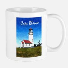 Cape Blanco Lighthouse Text Cape Blanco copy Mugs