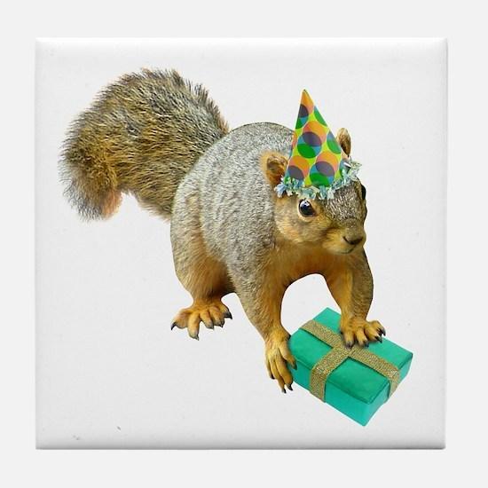 Birthday Squirrel Tile Coaster
