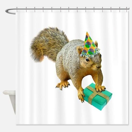 Birthday Squirrel Shower Curtain