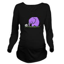 Soccer Elephant(1) Long Sleeve Maternity T-Shirt