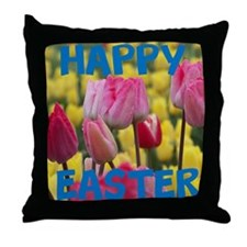 Happy Easter Pink and Yellow Tulips Throw Pillow