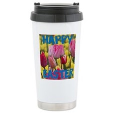 Happy Easter Pink and Yellow Tulips Travel Mug