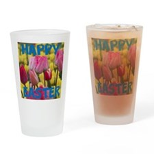 Happy Easter Pink and Yellow Tulips Drinking Glass