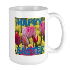Happy Easter Pink and Yellow Tulips Mugs