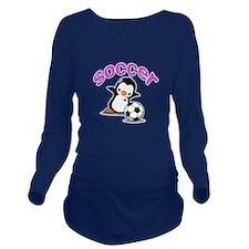 Soccer Penguin (1) Long Sleeve Maternity T-Shirt