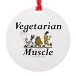 Top Vegetarian Muscle Round Ornament