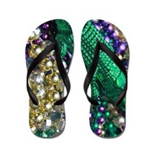 Mardi Gras Alligator Beads Flip Flops