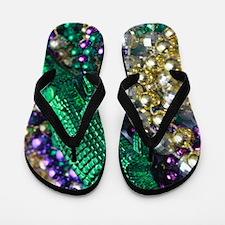 Mardi Gras Alligator Beads Flip Flops
