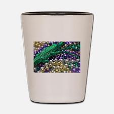 Mardi Gras Alligator Beads Shot Glass