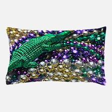 Mardi Gras Alligator Beads Pillow Case