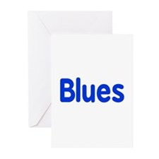 Blues word blue music design Greeting Cards