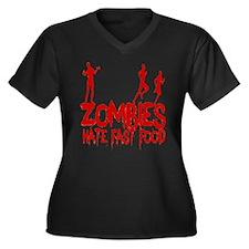 Zombies Hate Women's Plus Size V-Neck Dark T-Shirt