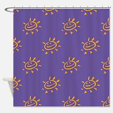 Golden Sunny Face On Purple Shower Curtain