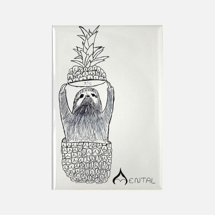 Mental Pineapple Sloth Rectangle Magnet