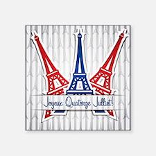 "Eiffel Towers Gray Square Sticker 3"" x 3"""