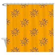 Purple Sunny Face on Gold Shower Curtain