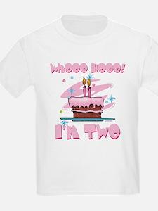 Whooo Hooo I'm Two Pink T-Shirt