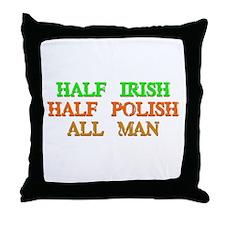 half Irish, half Polish Throw Pillow