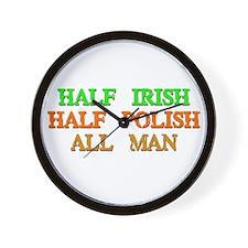half Irish, half Polish Wall Clock
