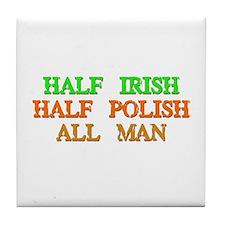 half Irish, half Polish Tile Coaster