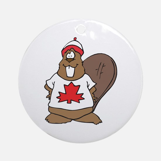 Goofy Canadian Beaver in Shirt Ornament (Round)