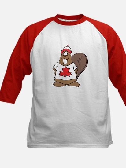 Goofy Canadian Beaver in Shirt Kids Baseball Jerse