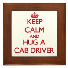 Keep Calm and Hug a Cab Driver Framed Tile