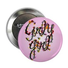 Girly Girl (flowers) Button