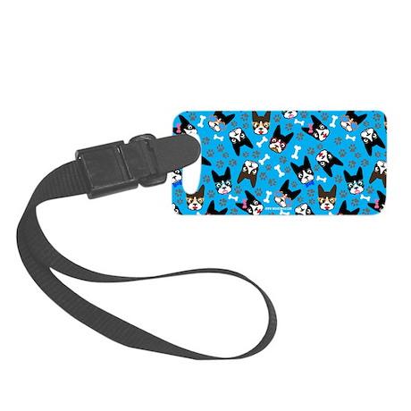 cute boston terrier dog Small Luggage Tag