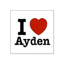 "I love Ayden Square Sticker 3"" x 3"""
