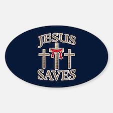 Jesus Saves Sticker (Oval)