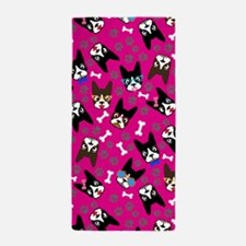 Boston Terrier Cute Mustache Funny Fac Beach Towel