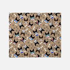 Boston Terrier Cute Mustache Funny F Throw Blanket