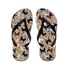 Boston Terrier Cute Mustache Funny Face Flip Flops