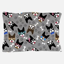cute boston terrier dog Pillow Case
