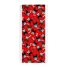 cute boston terrier dog Beach Towel